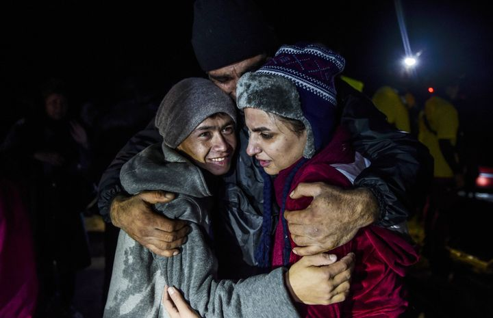 Refugees continue to reachthe Greek island of Lesbos by sea.