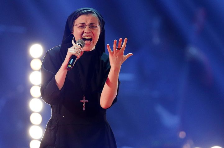 SisterCristina Scuccia performs during 'The Voice of Italy' award on June 5, 2014 in Milan, Italy.