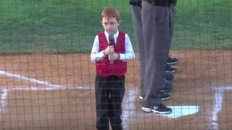 Ethan Hall battled through the hiccups while singing the national anthem