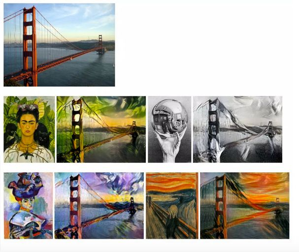"The neural network ""learns"" the style of one image and merges it with another."