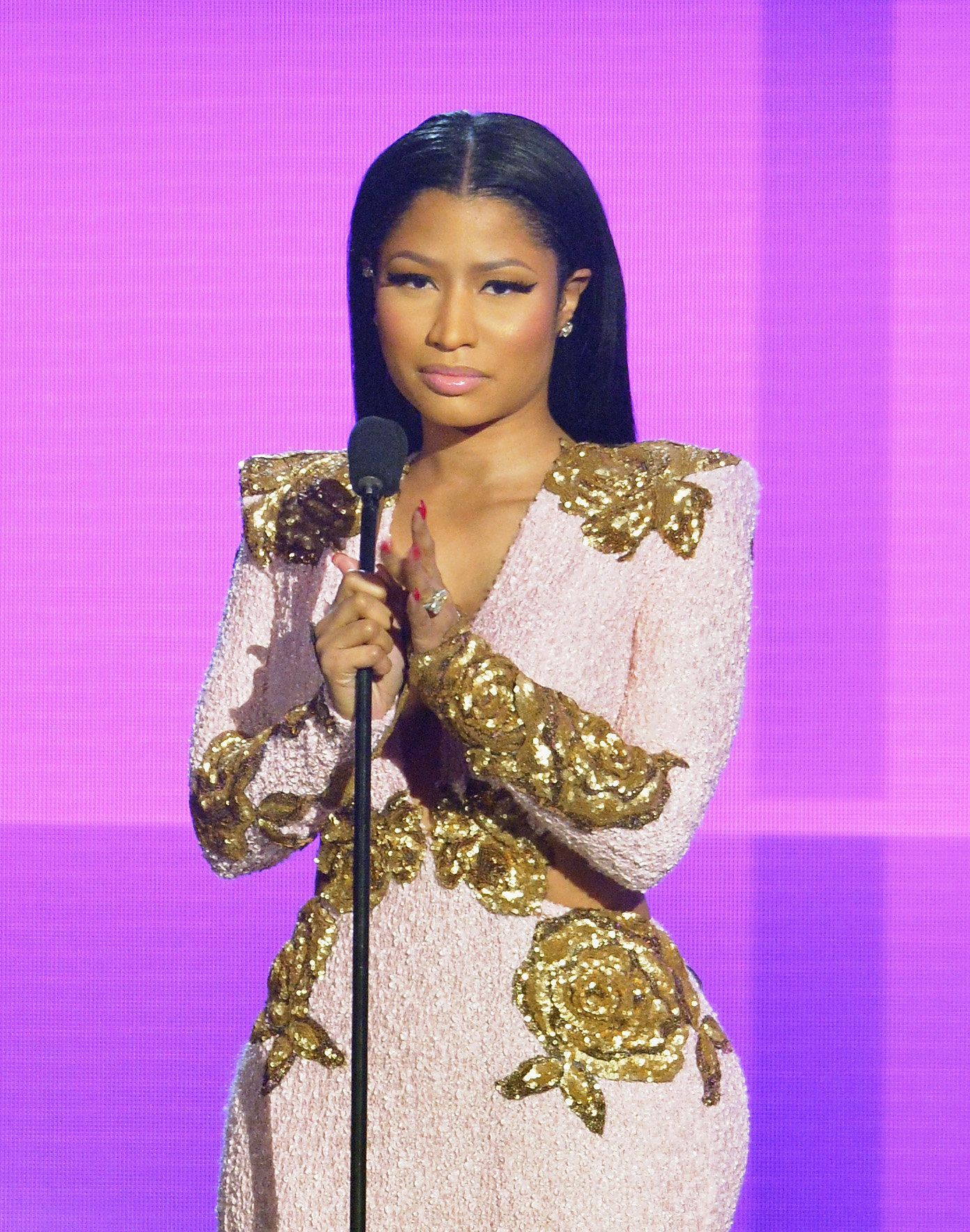 LOS ANGELES, CA - NOVEMBER 22:  Recording artist Nicki Minaj speaks onstage during the 2015 American Music Awards at Microsoft Theater on November 22, 2015 in Los Angeles, California.  (Photo by Lester Cohen/WireImage)