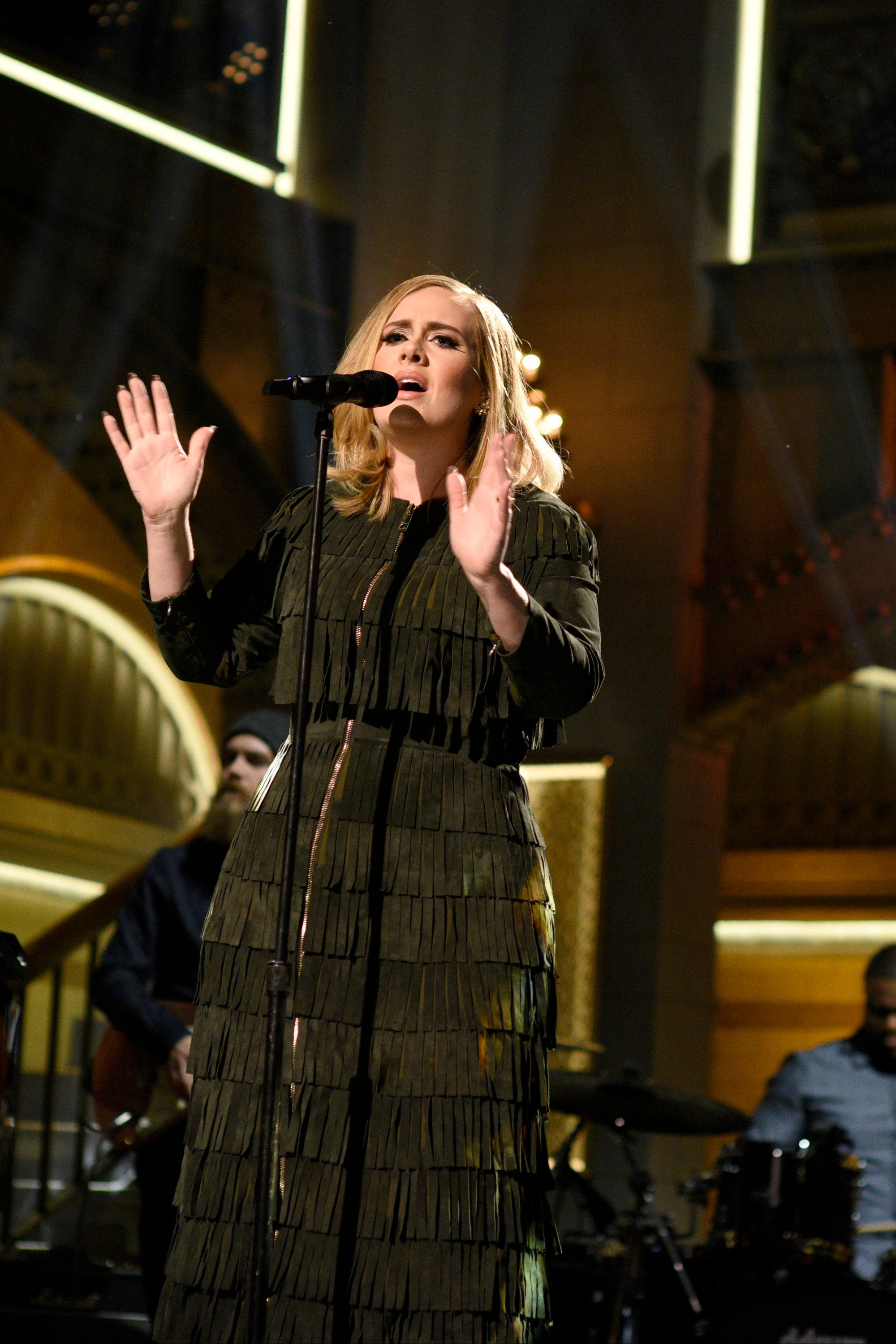 SATURDAY NIGHT LIVE -- 'Matthew McConaughey' Episode 1689 -- Pictured: Musical guest Adele performs on November 21, 2015 -- (Photo by: Dana Edelson/NBC/NBCU Photo Bank via Getty Images)