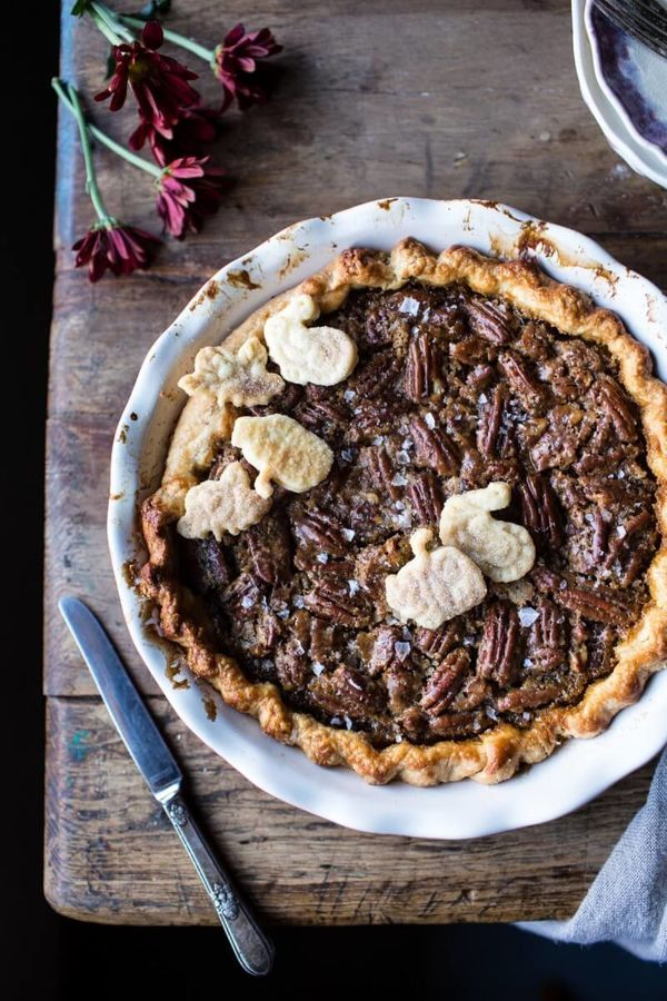 "<strong>Get the <a href=""http://www.halfbakedharvest.com/salted-bourbon-pecan-pumpkin-pie/"" target=""_blank"">Salted Bourbon Pe"