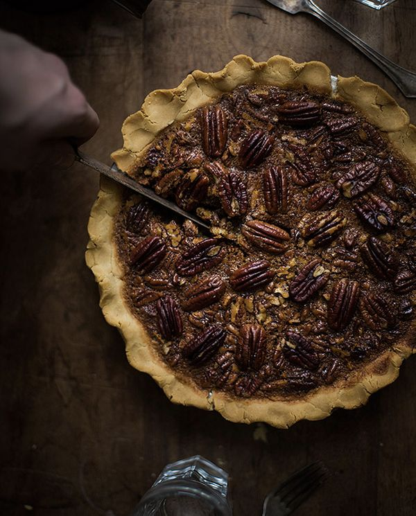 "<strong>Get the <a href=""http://slimpalate.com/paleo-pecan-pie/"" target=""_blank"">Paleo Pecan Pie recipe</a> from Slim Palate<"