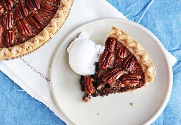 "<strong>Get the <a href=""http://www.abeautifulmess.com/2012/09/brownie-pecan-pie.html"">Brownie Pecan Pie recipe</a> from"