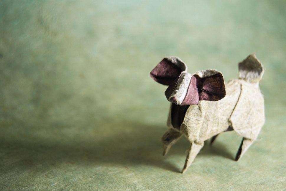 Origami Papillon Dog, design by Miyajima Noboru