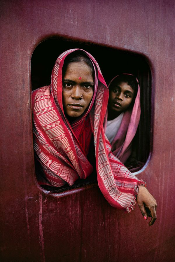 Woman and child on the Howrah Mail train en-route to Kolkata, West Bengal; 1982