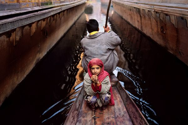 Father and daughter on Dal Lake, Srinagar, Kashmir; 1996
