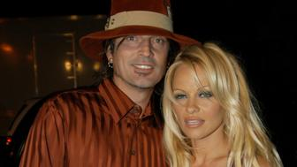 Tommy Lee and Pamela Anderson during 'Scary Movie 3' Los Angeles Premiere at AMC Theatres Avco Cinema in Westwood, California, United States. (Photo by Jeff Kravitz/FilmMagic)