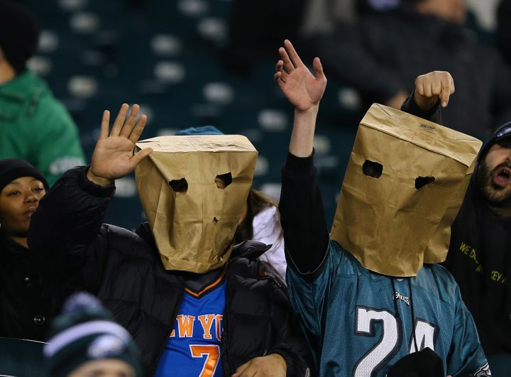 Eagles fans wear paper bags on their heads during a 2012 game against Cincinnati.