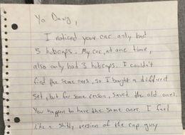 'Enjoy The Sweet Hubcap, Playa:' Man Leaves Hilarious Good Deed Note