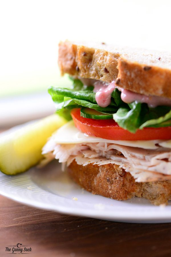 "<strong>Get the <a href=""http://www.thegunnysack.com/turkey-cranberry-sandwich/"">Turkey Sandwich with Cranberry Mayo recipe</"