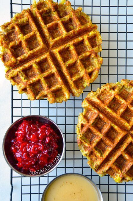 "<strong>Get the <a href=""http://www.justataste.com/thanksgiving-leftover-stuffing-waffles-recipe/"">Leftover Stuffing Waffles"