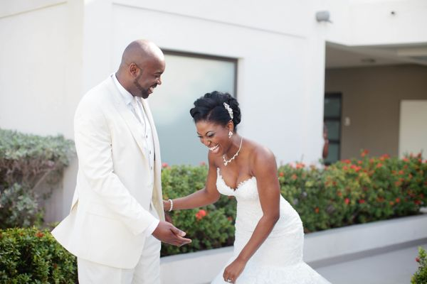 """""""Alana and Hashim were elated to see each other for their first look before their wedding ceremony in St. Maarten. I felt hon"""
