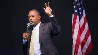 WILTON, IA - NOVEMBER 22:  Republican presidential candidate Ben Carson speaks to guests at a barbeque hosted by Jeff Kauffman, chairman of the Republican party of Iowa, on November 22, 2015 in Wilton, Iowa. The event, which was also attended by rival candidate Carly Fiorina, was one of three scheduled campaign stops for Carson in Iowa today.  (Photo by Scott Olson/Getty Images)