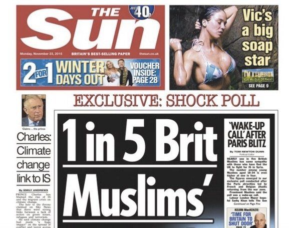 The Sun, a British tabloid, has been roundly ridiculed for a misleading headline on Nov. 23 about the country's Muslims