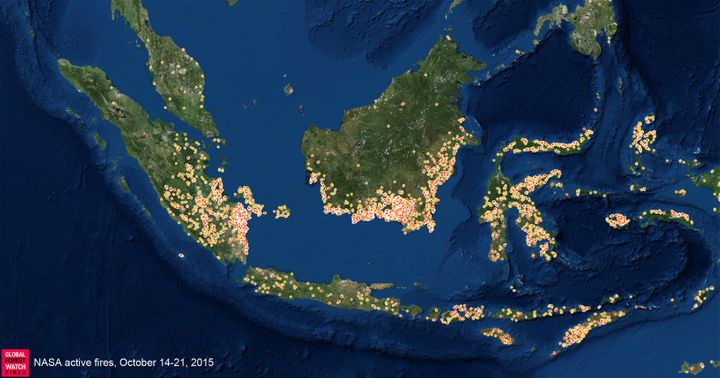 Fires detected in Indonesia during a single week in October.