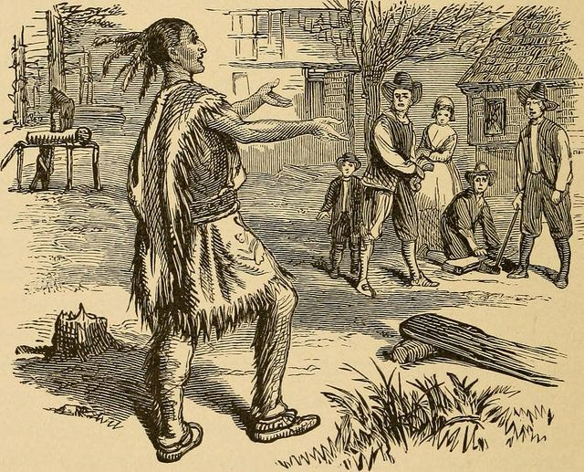 "This image from ""Young Folks' History of the United States,"" published in 1903, is typical of depictions of the Thanksgiving"