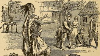 """This image from """"Young Folks' History of the United States,"""" published in 1903, is typical of depictions of the Thanksgiving story at the time."""