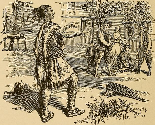 "<span class='image-component__caption' itemprop=""caption"">This image from ""Young Folks' History of the United States,"" published in 1903, is typical of depictions of the Thanksgiving story at the time.</span>"