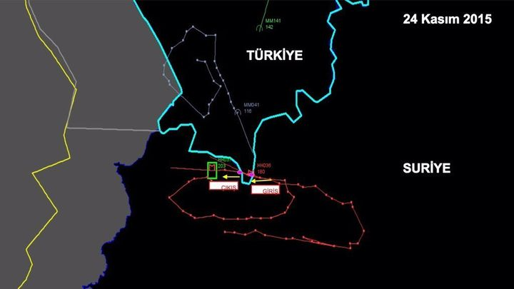 A graphic allegedly showing the flight path of a Russian fighter jet with it violated Turkish airspace on Tuesday.<i></i>