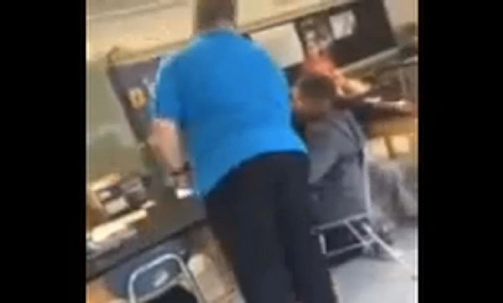 The former middle school teacher claims he resorted to grabbing the student's chair and yanking it when the boy repeatedly re