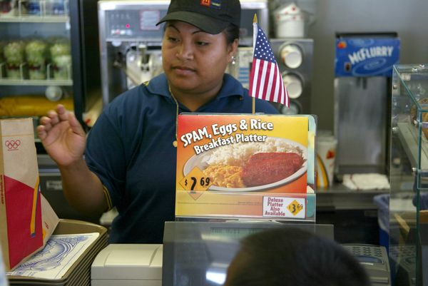 "We'll take the <a href=""http://tastyislandhawaii.com/2012/12/07/mcdonalds-7-eleven-hawaii-hits/"">spam, eggs and rice breakfas"
