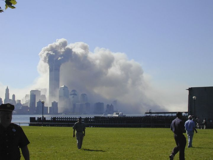 A view of the Sept. 11 attacks from the New Jersey waterfront.
