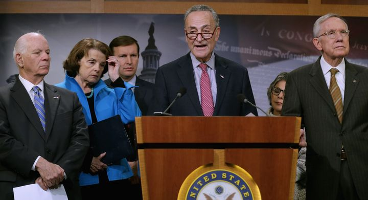 Sen. Chuck Schumer (center) said terrorists are more likely to enter the U.S. through the visa waiver program than disguised