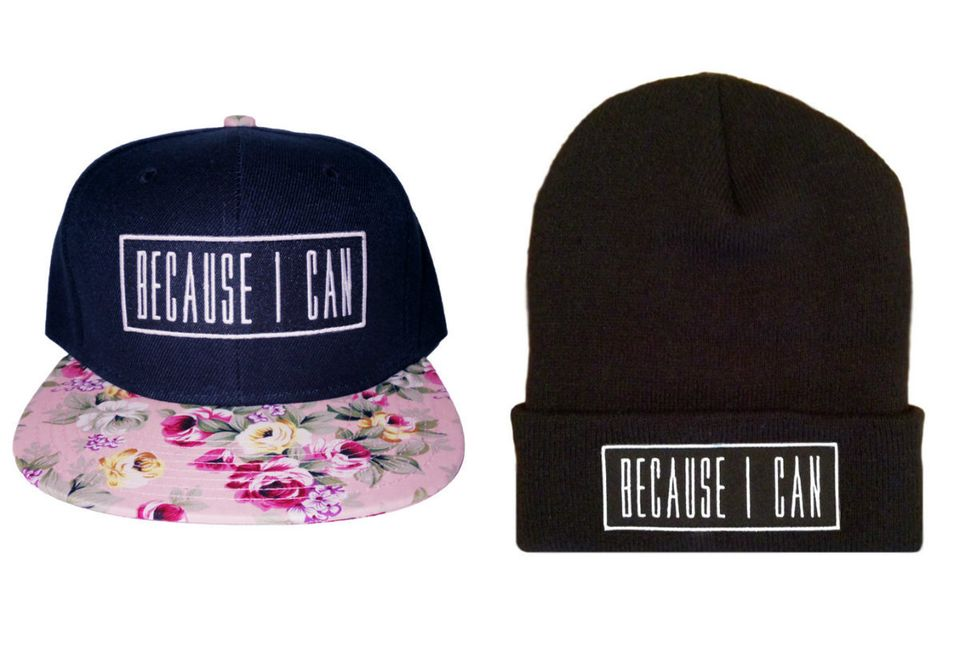 """<i>Buy the beanie <a href=""""http://www.millioneiress.com/collections/hats/products/becauseicanbeanieblk"""">here</a> and hat <a h"""