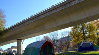 The city of Washington, D.C. is trying to clear an encampment of homeless people from behind the Watergate Hotel. (Mariam Baksh)