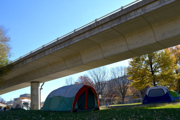 Washington, D.C. is trying to clear an encampment of homeless people from behind the Watergate Hotel.
