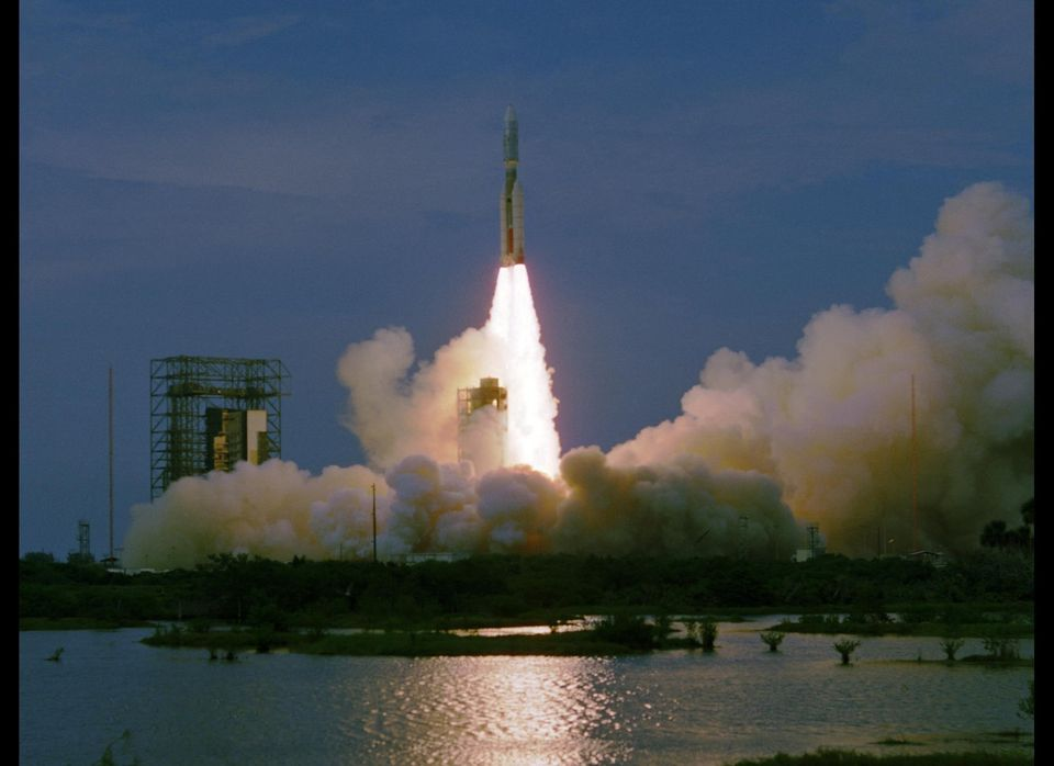 Viking 1 launches from NASA's Kennedy Space Center on August 20, 1975, bound for Mars. A twin spacecraft, Viking 2, followed