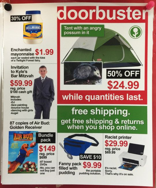 A tent with an angry possum in it is now half off while an invitation to Kyle's Bar Mitzvah is going for $59.99