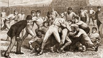 Wood engraving from Harper's Weekly magazine depicts onfield action during a football match between Yale and Princeton on Thanksgiving Day, November 1879. The match was a draw. (Photo by Stock Montage/Getty Images)