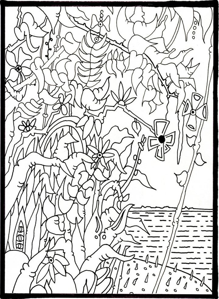 fine line coloring pages - photo#4