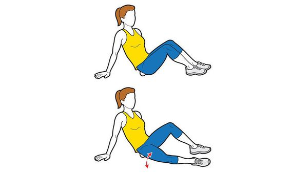 Sit with knees bent and feet flat on floor. Place lacrosse ball under right glute. Move bent right leg side to side while fle