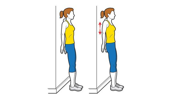 Stand near ball placed between wall and the spot where neck and shoulder meet. Find a tender area, stay there and shrug shoul