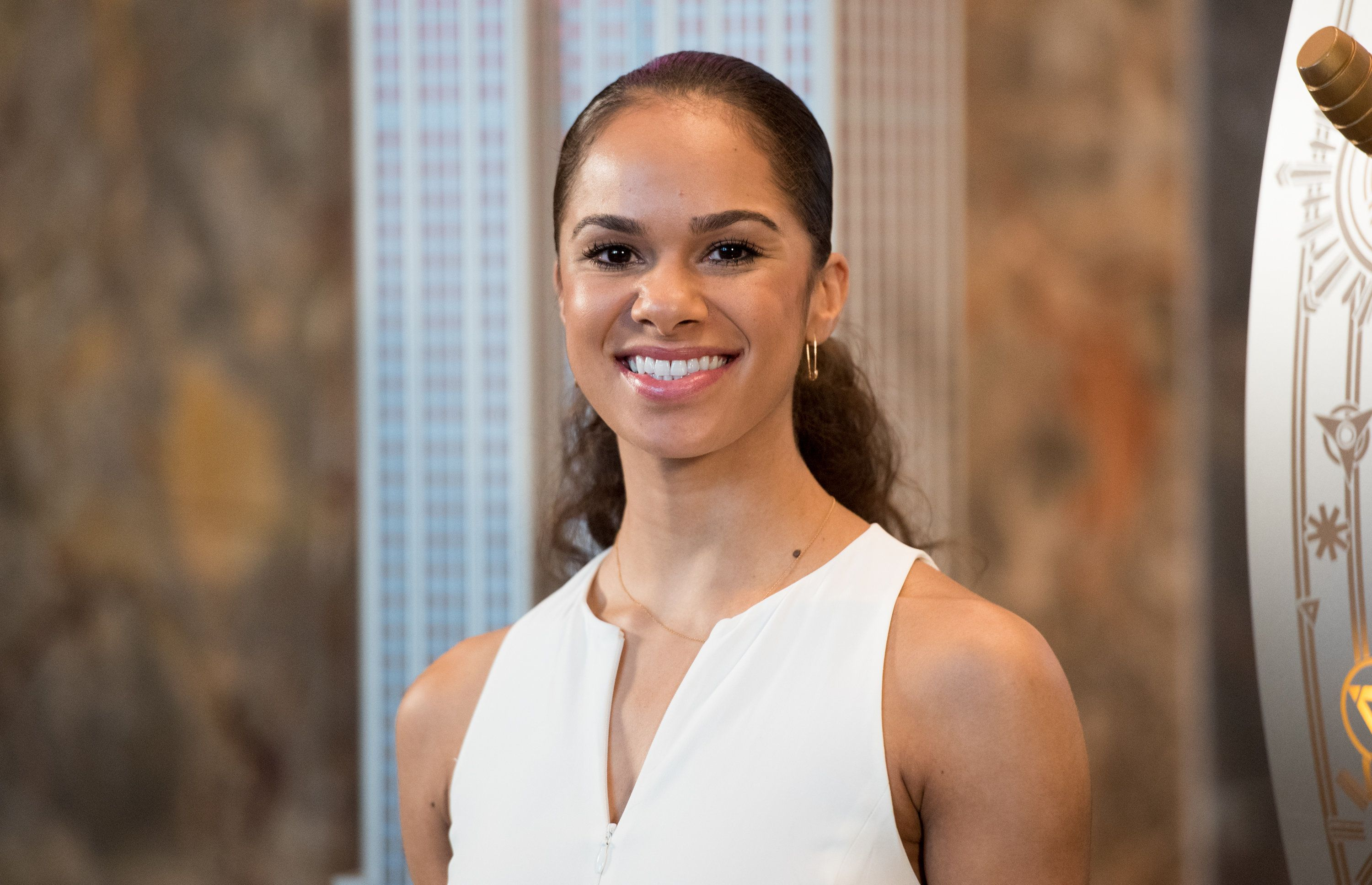 NEW YORK, NY - NOVEMBER 09:  Ballet dancer Misty Copeland lights the Empire State Building in Honor of the 25th Anniversary of Glamour's Women of the Year Awards at The Empire State Building on November 9, 2015 in New York City.  (Photo by Noam Galai/WireImage)