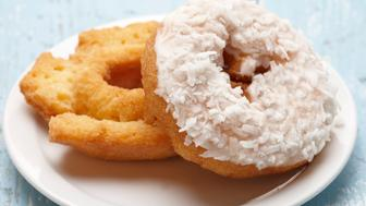 Food, Food And Drink, Dessert, Breakfast, Doughnut, Coconut, Glazed, Junk Food, Pastry, Frosting,