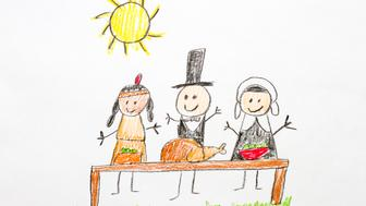 A kids drawing of a Thanksgiving tradition.