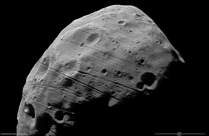 An ESA/NASA image showing the surface of the moon Phobos, obtained on August 21, 2008.