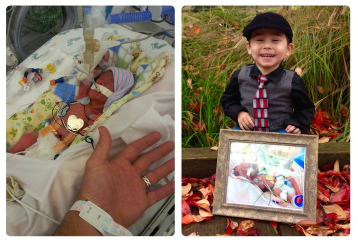 <i>Elijah in the NICU and today.</i>