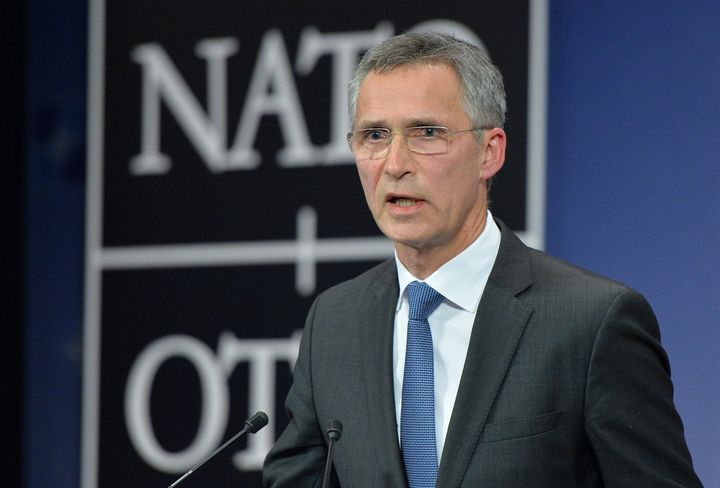 NATO Secretary General Jens Stoltenberg speaks during a press conference at NATO headquarters following the downing of a Russ