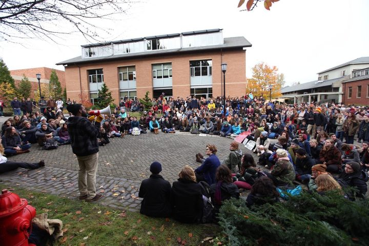 Students at Lewis & Clark College in Portland, Oregon, gather in protest after a series of racially charges incidents on