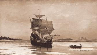 'Mayflower in Plymouth Harbor' (1882), oil painting by William Halsall of the ship that in December 1620 brought Pilgrims from Plymouth, England, to New England, where they established the Massachusetts colony, 1882. (Photo by Stock Montage/Getty Images)