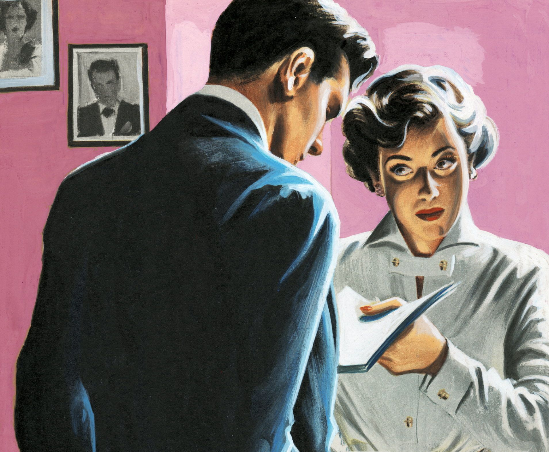 Woman Giving Man Papers