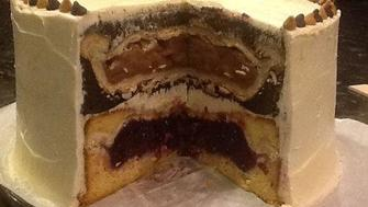 I want one!  Pie, baked in a cake!