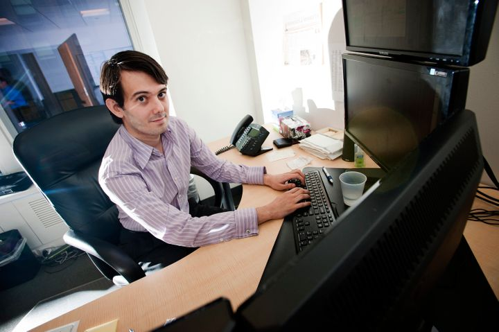 Martin Shkreli, chief investment officer of MSMB Capital Management, sits for a photograph in his office in New York on Wedne