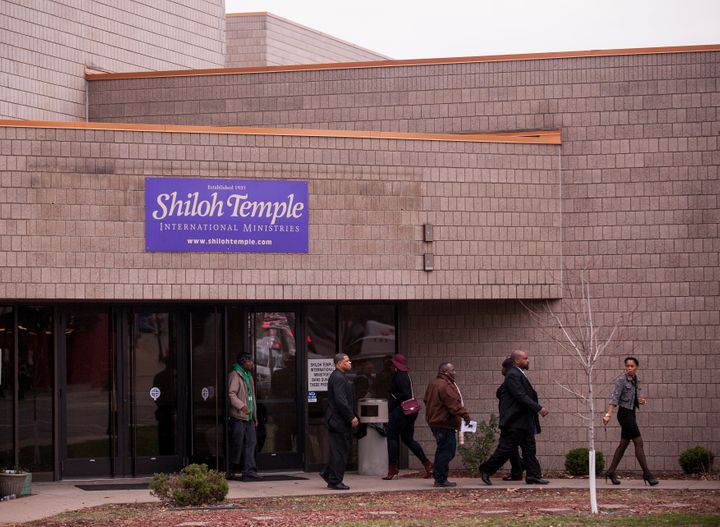 Attendees exit the funeral service of Jamar Clark at Shiloh Temple on November 25, 2015 in Minneapolis, Minnesota.